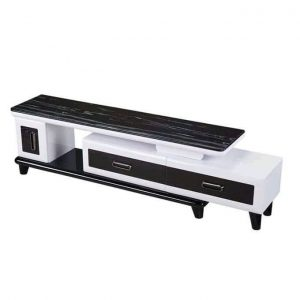 Modern Living Room TV Stand With Double Drawers Black And White