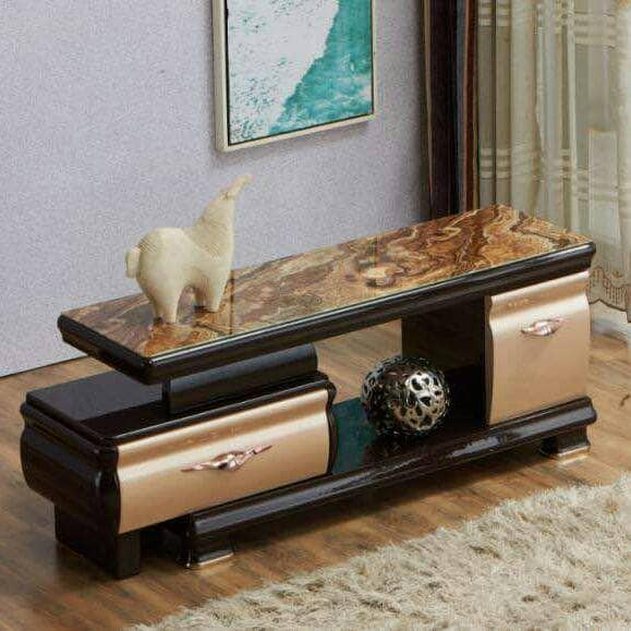 Modern Living Room TV Stand With Single Drawers Brown And Gold
